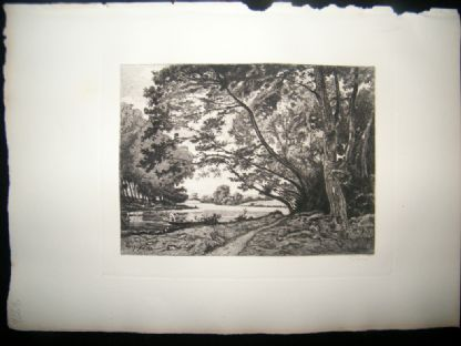 G. Greux after Harpignies 1885 Etching. The Seine near Bois de Boulogne, France | Albion Prints